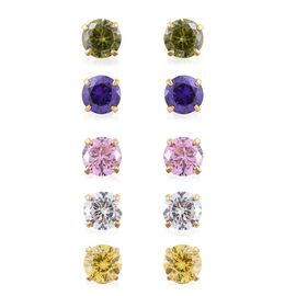 Set of 5 - ELANZA AAA Simulated Peridot (Rnd), Simulated Citrine, Simulated Pink Sapphire, Simulated Tanzanite and Simulated Diamond Stud Earrings (with Push Back) in 14K Gold Overlay Sterling Silver