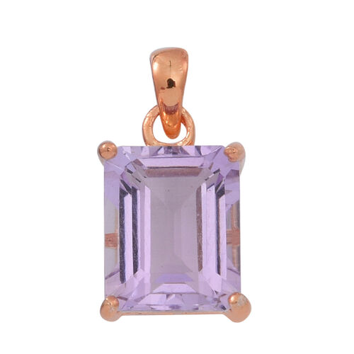 AA Rose De France Amethyst (Oct) Solitaire Pendant in 14K Rose Gold Overlay Sterling Silver 4.500 Ct.