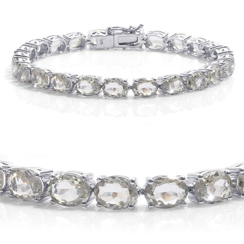 Green Sillimanite (Ovl) Tennis Bracelet in Platinum Overlay Sterling Silver (Size 8) 26.500 Ct. Silver wt 13.75 Gms.