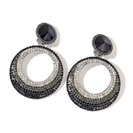 Simulated Black Spinel, Black and White Austrian Crystal Earrings (with French Clip) in Black Tone
