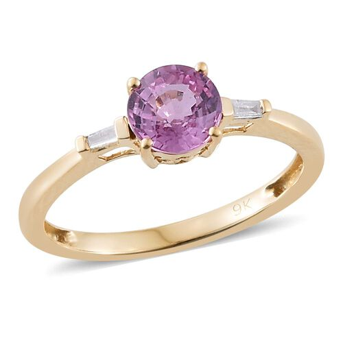 9K Yellow Gold AA Pink Sapphire (Rnd), Diamond (I3/G-H) Ring 1.000 Ct.