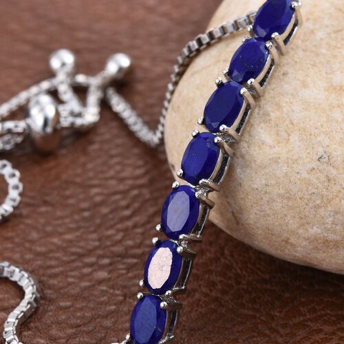 Lapis Lazuli (Ovl) 7 Stone Bracelet (Size 7.5 with Adjustable) in ION Plated Platinum Bond 2.750 Ct.