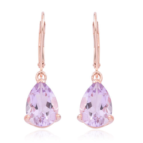 Rose De France Amethyst (Pear) Lever Back Earrings in Rose Gold Overlay Sterling Silver 5.250 Ct.