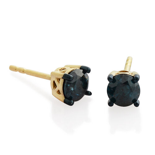 9K Yellow Gold 1 Ct Blue Diamond Stud Earrings (with Push Back) SGL Certified