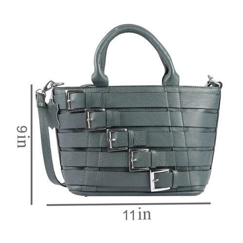 Genuine Leather RFID Blocker Olive Green Colour Buckle Design Handbag (Size 36X28X21.5X12 Cm)