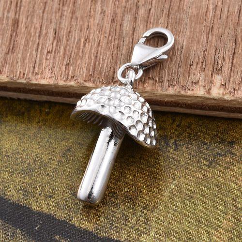 Silver Mushroom Charm in Platinum Overlay
