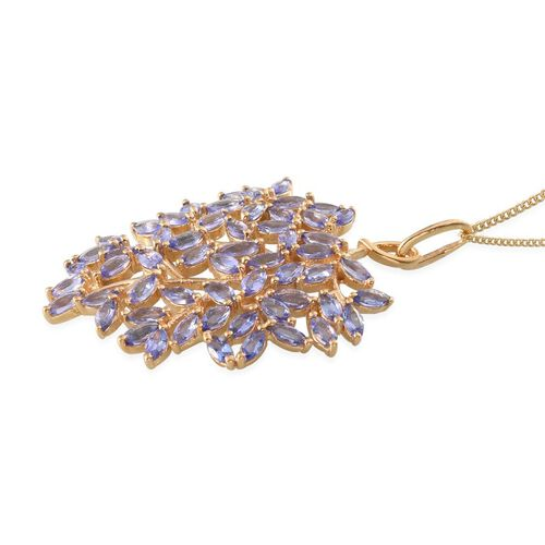 Tanzanite (Mrq) Leaves Pendant With Chain in 14K Gold Overlay Sterling Silver 4.250 Ct.