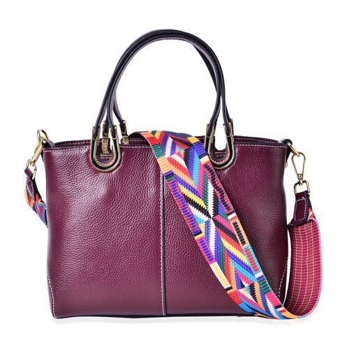 100% Genuine Leather Burgundy Colour Tote Bag with Multi Colour Removable Shoulder Strap (Size 24x19x11.5 Cm)