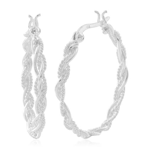 Sterling Silver Hoop Mesh Earrings (with Clasp Lock), Silver wt. 4.13 Gms.