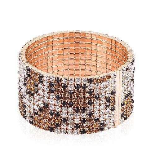 AAA Champagne, White and Black Austrian Crystal Python Snake Skin Bangle (Size 6.5) in Yellow Gold Tone