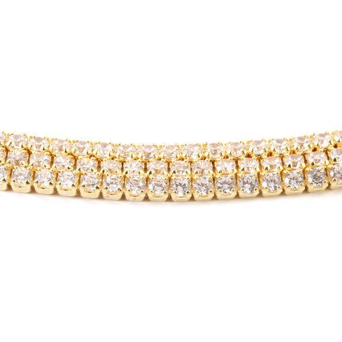 AAA Simulated Diamond (Rnd) Triple Strand Adjustable Bracelet (Size 6.5 to 8.5) Gold Plated