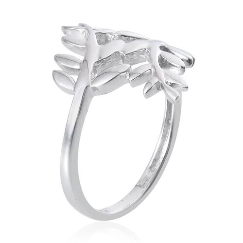 Platinum Overlay Sterling Silver Olive Leaves Crossover Ring, Silver wt 4.00 Gms.