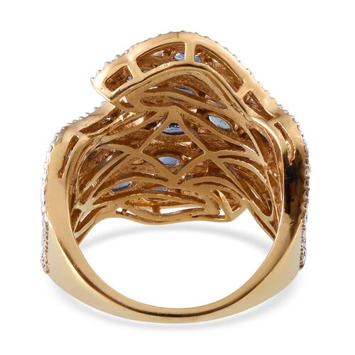 Kanchanaburi Blue Sapphire (Ovl), Diamond Ring in 14K Gold Overlay Sterling Silver 5.270 Ct.