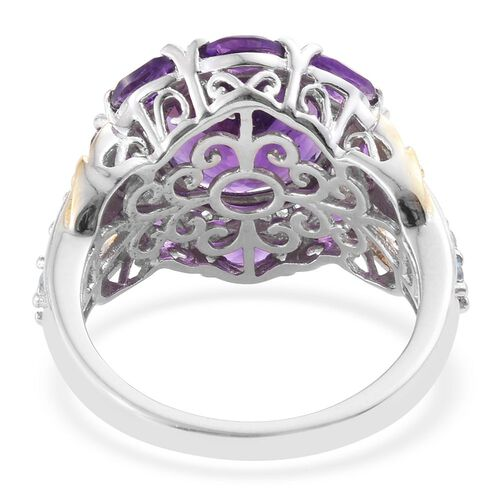 Amethyst (Rnd), Signity Blue Topaz, Natural Cambodian Zircon Ring in Platinum and Yellow Gold Overlay Sterling Silver 5.860 Ct.