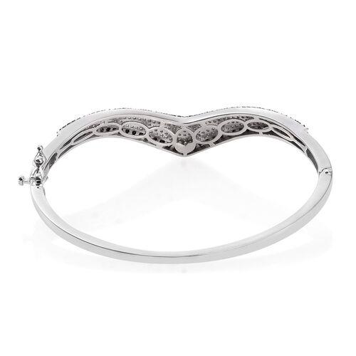 Brand New Black Diamond (Rnd) Wishbone Bangle (Size 7.5) in Platinum Overlay Sterling Silver 2.750 Ct.