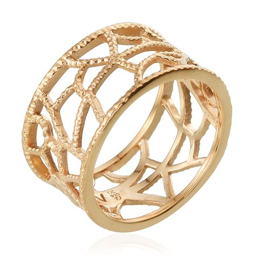 Tribal Collection of India 14K Gold Overlay Sterling Silver Band Ring, Silver wt 4.97 Gms.