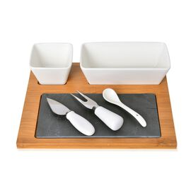 Kitchen Accessories - 2 Ceramic Bowl (Size 8.5X6 and 17X9X5.5 Cm), Spoon, Bamboo Tray (Size 27X22X1.5 Cm), Slate Board (Size 21X11 Cm), Cheese Knife and Cheese Fork in Stainless Steel