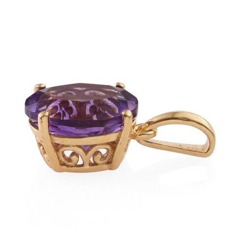 Moroccan Amethyst (Ovl) Solitaire Pendant in 14K Gold Overlay Sterling Silver 4.750 Ct.