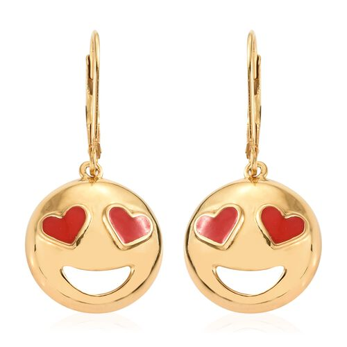 Smiling Face with Red Heart-Eyes Smiley Silver Lever Back Earrings in Gold Overlay
