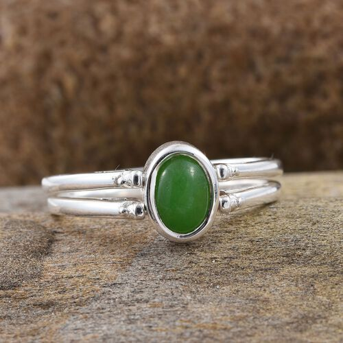 New Concept - Green Jade (Ovl 0.90 Ct), Yellow Jade Reversible Ring in Sterling Silver 1.750 Ct.