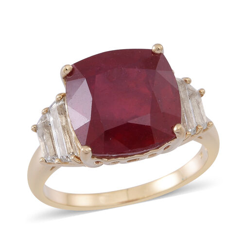 9K Y Gold African Ruby (Cush 11.00 Ct), White Topaz Ring 12.000 Ct.