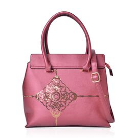 Golden Sequin Pattern Pink Colour Tote Bag with External Zipper Pocket and Adjustable and Removable Shoulder Strap (Size 33X29X13.5 Cm)