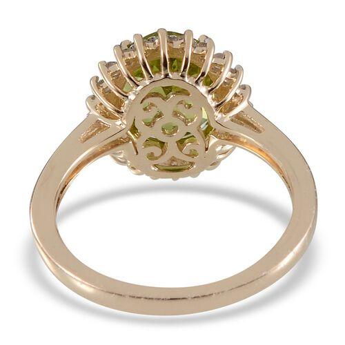 9K Y Gold AAA Hebei Peridot (Ovl 2.75 Ct), Diamond Ring 2.900 Ct.