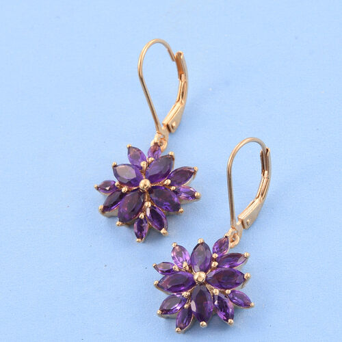 Amethyst (Mrq) Lever Back Earrings in 14K Gold Overlay Sterling Silver 3.750 Ct.