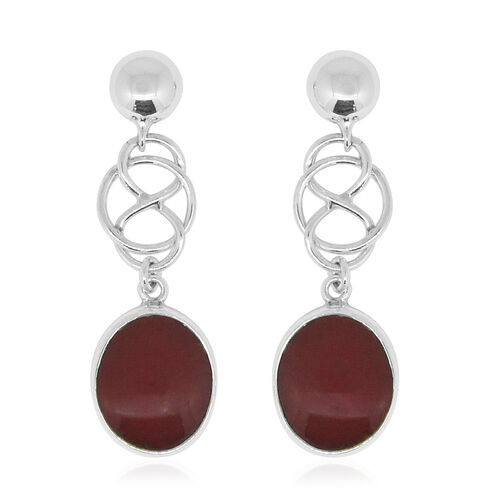 Royal Bali Collection Sponge Coral (Ovl) Earrings (with Push Back) in Sterling Silver 12.000 Ct.