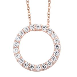 J Francis - Rose Gold Overlay Sterling Silver (Rnd) Circle of Life Pendant with Chain