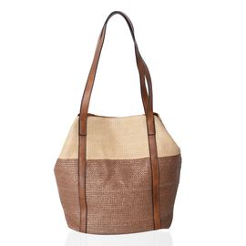 Beige and Coffee Colour Tote Bag (Size 45x30x29x20 Cm)
