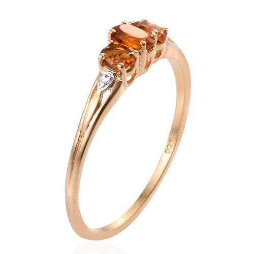 Madeira Citrine (Ovl) 3 Stone Ring in 14K Gold Overlay Sterling Silver 0.500 Ct.