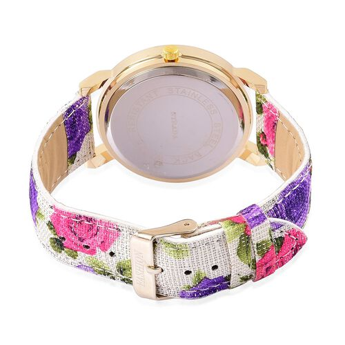 STRADA Japanese Movement Roman Numerals Watch in Gold Tone with Pink Colour Floral Strap and Stainless Steel Back
