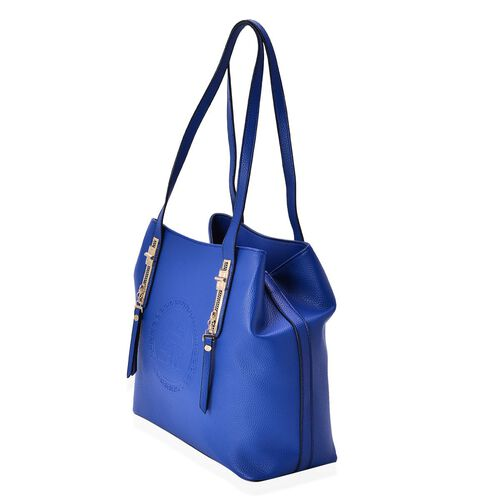 YUAN COLLECTION Royal Blue Colour Tote Bag with External Zipper Pocket (Size 32.5x28x14 Cm)