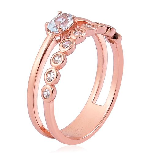 Sky Blue Topaz and Simulated White Diamond Ring in Rose Gold Overlay Sterling Silver 1.000 Ct.