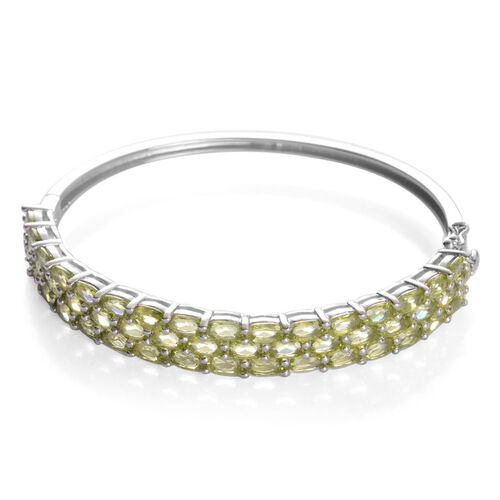 AA Hebei Peridot (Ovl) Bangle in Platinum Overlay Sterling Silver (Size 7.5) 11.750 Ct.