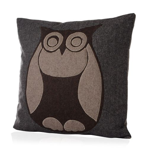 Beige Colour Owl Pattern Chocolate Colour Woolen Cushion (Size 43x43 Cm)