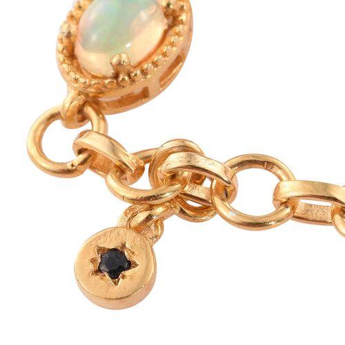 GP Ethiopian Welo Opal (Ovl), Kanchanaburi Blue Sapphire Bracelet (Size 7.5) in 14K Gold Overlay Sterling Silver.