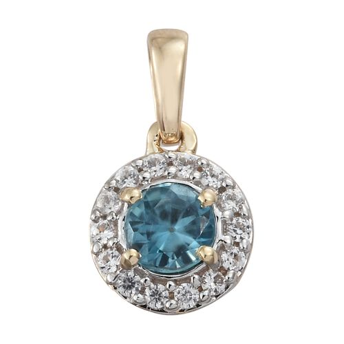 Blue Zircon, Natural Cambodian Zircon Halo Pendant 0.75 Ct in 9K Gold