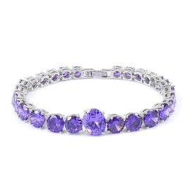 AAA Simulated Amethyst Bracelet (Size 7.5) in Silver Plated