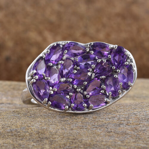 Amethyst (Ovl and Pear) Cluster Ring in Platinum Overlay Sterling Silver 3.750 Ct.