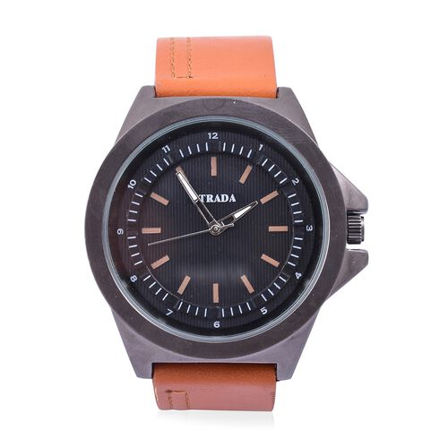 STRADA Japanese Movement Black Dial Water Resistant Watch in Black Tone with Stainless Steel Back and Coffee Colour Strap