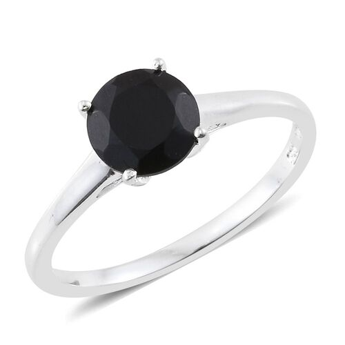 Boi Ploi Black Spinel (Rnd 1.25 Ct) Solitaire Ring and Stud Earrings (with Push Back) in Sterling Silver 2.250 Ct.