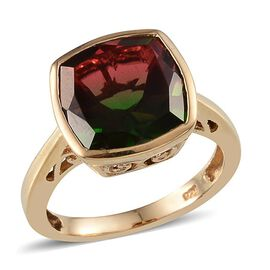 Tourmaline Colour Quartz (Cush) Solitaire Ring in 14K Gold Overlay Sterling Silver 5.000 Ct.