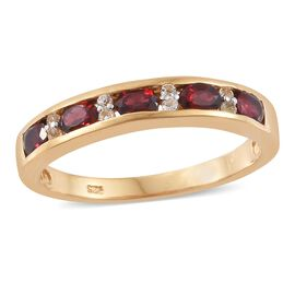 Arizona Anthill Garnet (Ovl), White Topaz Ring in 14K Gold Overlay Sterling Silver 1.050 Ct.
