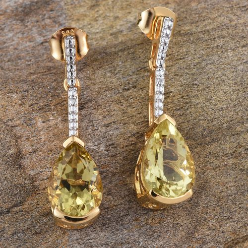 Natural Ouro Verde Quartz (Pear), Diamond Earrings (with Push Back) in 14K Gold Overlay Sterling Silver 6.260 Ct.
