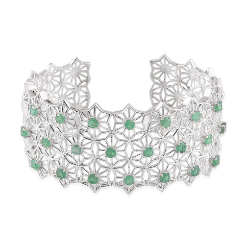 Kagem Zambian Emerald (Rnd) 5.250Ct. Cuff Bangle (Size 7.5) in Platinum Overlay Sterling Silver 50.10gms.