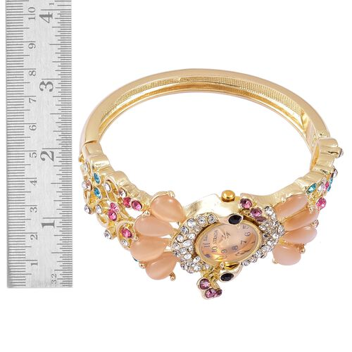 STRADA Japanese Movement Simulated Champagne Cats Eye and Multi Colour Austrian Crystal Peacock Design Bangle Watch in Yellow Gold Tone
