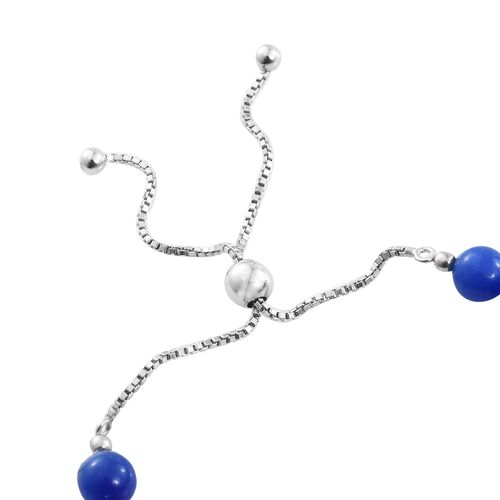 Super Auction- Rare Blue Jade Ball Bolo Adjustable Bracelet (Size 6.5 to 8.5) and Stud Earrings (with Push Back) in Rhodium Plated Sterling Silver 36.400 Ct.