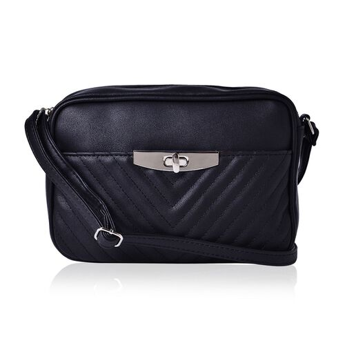 Black Colour Crossbody Bag with Adjustable Shoulder Strap (Size 23.5x15.5x7 Cm)